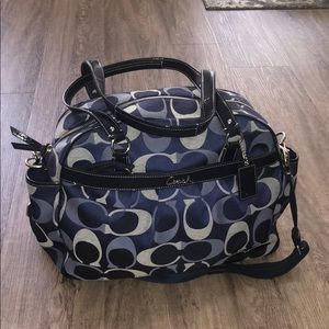 Blue Coach Diaper Tote